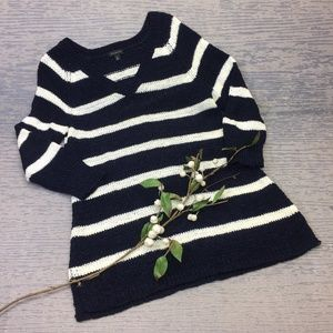 Like New Talbots navy white striped sweater